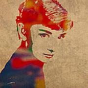 Audrey Hepburn Watercolor Portrait On Worn Distressed Canvas Poster