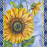 Audrey's Sunflower With Boarder Poster