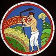 August - Threshing Wheat Poster