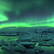 Aurora Borealis Above Jokulsarlon Poster