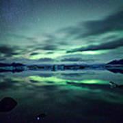 Aurora Borealis Over Lake Poster