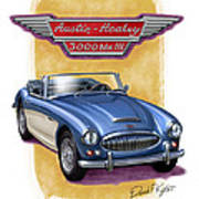 Austin Healey 3000 Blue-white Poster