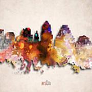Austin Painted City Skyline Poster