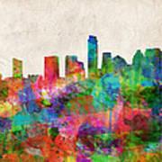 Austin Texas Abstract Panorama 4 Poster