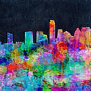 Austin Watercolor Panorama Poster