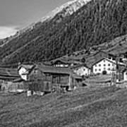 Austrian Village Monochrome Poster