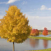 Autumn Day By The Lake Poster