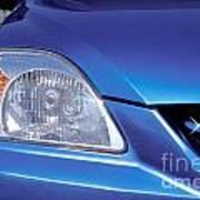 Automobile Head Light Blue Car Poster