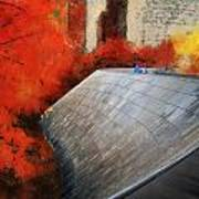 Autumn At Chicago Millennium Park Bp Bridge Mixed Media 03 Poster