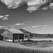 Autumn Barn Monochrome Poster