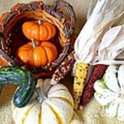 Autumn Basketful With Corn Poster