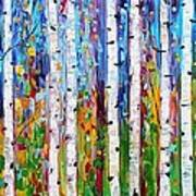 Autumn Birch Trees Abstract Poster