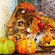 Autumn Display - Pumpkins On A Porch Poster