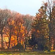 Autumn Farm With Harrow Poster