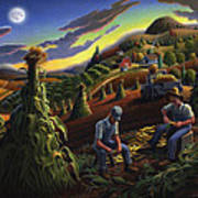 Autumn Farmers Shucking Corn Appalachian Rural Farm Country Harvesting Landscape - Harvest Folk Art Poster
