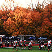 Autumn Football With Dry Brush Effect Poster