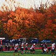 Autumn Football With Sponge Painting Effect Poster