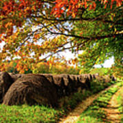Autumn Hay Bales Blue Ridge Mountains II Poster