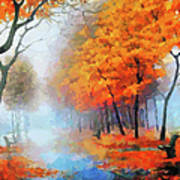 Autumn In The Morning Mist Poster