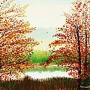 Autumn On The Ema River Estonia Poster