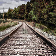 Autumn On The Railroad Tracks Poster