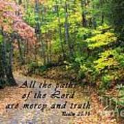 Autumn Path With Scripture Poster
