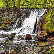 Autumn Scene With Waterfall In Forest Poster