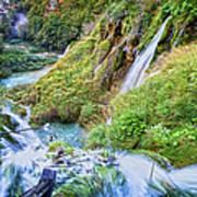 Autumn Valley Waterfalls Poster
