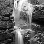 Avalanche Falls In Flume Gorge - Black And White Poster