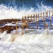 Avalon Rockpool With Crashing Waves Poster