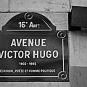 Avenue Victor Hugo Paris Road Sign Poster
