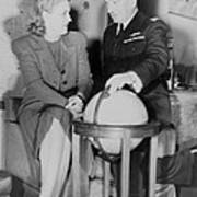 Aviator Jacqueline Cochran With Capt Poster