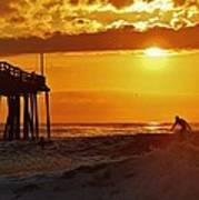 Avon Pier Sunrise Surfer 2 9/08 Poster