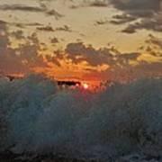 Avon Pier Splash Sunrise 7/26 Poster