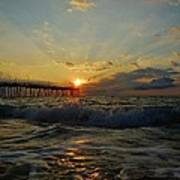 Avon Pier Sunrise Morning Sunbeams 7/26 Poster