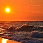 Awesome Red Sunrise Colors On Navarre Beach With Shore Waves Poster