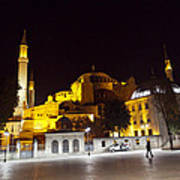 Aya Sophia In Istanbul Turkey At Night Poster by Raimond Klavins