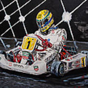 Ayrton Senna Karting Poster