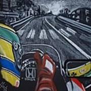 Ayrton Senna On Board At Monaco 89 Poster