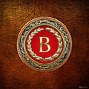 B - Gold Vintage Monogram On Brown Leather Poster