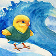 Baby Chick Surfing Poster