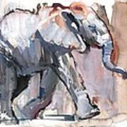Baby Elephant, 2012 Mixed Media On Paper Poster