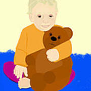 Baby Holding Teddy Bear Poster