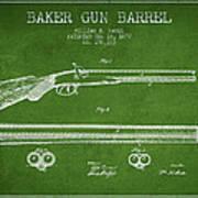 Baker Gun Barrel Patent Drawing From 1877- Green Poster