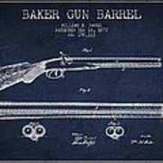 Baker Gun Barrel Patent Drawing From 1877- Navy Blue Poster