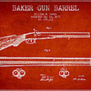 Baker Gun Barrel Patent Drawing From 1877- Red Poster