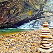 Balanced River Rocks At Birdrock Waterfalls Filtered Poster