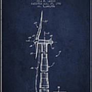 Balancing Of Wind Turbines Patent From 1992 - Navy Blue Poster