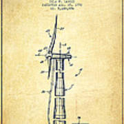 Balancing Of Wind Turbines Patent From 1992 - Vintage Poster