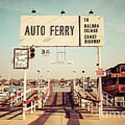 Balboa Island Ferry Newport Beach Vintage Picture Poster